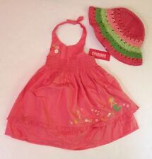 NWT Gymboree Coral Reef 18-24 Months Mermaid Halter Dress & Striped Straw Hat