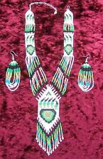 """BEAR CLAW GREEN"" NATIVE AMERICAN BEADED JEWELRY SET"