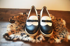 NEW BLACK AND WHITE LOAFERS BROUGES LOLITA PREPPY SHOES FLATS FAUX LEATHER