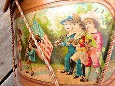 CIVIL WAR DRUM MUSIC CHILD DRUM PATRIOTIC AMERICAN FLAG WOOD CARVED DRUM STICKS