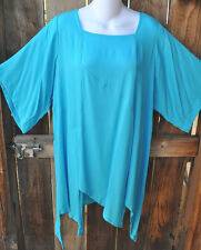 """ART TO WEAR MISSION CANYON 74+ PIXIE HEM TUNIC IN SOLID TURQUOISE, OS+,50""""B!"""