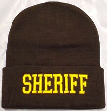 DELUXE DEPUTY SHERIFF POLICE OFFICIAL OFFICER KNIT BEANIE BROWN GOLD SKI CAP HAT