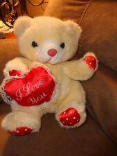 "Bear Yellow with Red Satin I love you heart pillow & paws 10"" Stuffed Plush 1999"