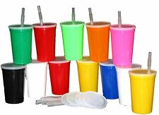12 - 20 oz Plastic Drinking Glasses Cups Lids Straws Mix Colors Mfg USA No BPA