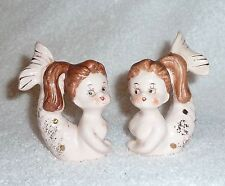 Vintage Relco Mermaid Salt and Pepper Shakers Pink Fish Mid-Century Retro
