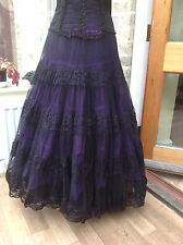 WHITBY GOTH STEAMPUNK VICTORIAN BLACK & PURPLE LACE NET FULL SKIRT COSPLAY 1539