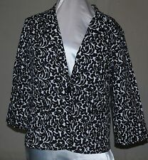 OSO CASUALS AWESOME 3/4 CUFF SLEEVES NOTCH COLLAR 1 BUTTON BLAZER BLACK/WHITE XL