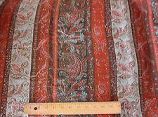 Antique 19thC c1870 Wool Cashmere Paisley Stripe Shawl Fabric~Christmas Projects