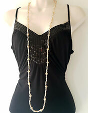 "Gorgeous 48"" long BEIGE glass bead & knotted cord rope necklace"