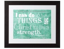 Philippians 4:13 Scripture Art Bible Verse Inspirational print poster Turquoise