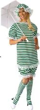 1920s Old Fashion Bathing Suit Green, Blue or Red Stripe Adult LADIES Costume
