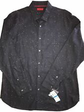 Alfani NEW Navy Blue Mens Size XL Nep Yarn Button Down Slim Fit Shirt Msrp $49