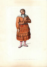 TRADITIONAL RUSSIAN COSTUMES - KAMSCHATKA -  HAND-COLOURED COPPERPLATE (1803)