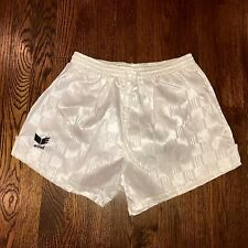 "NEW White Erima CHECKERED Mens LARGE Soccer 3"" Inseam Nylon umbro vtg 80s shorts"