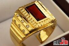Mens 14k Yellow Gold Ring Size 12 Synthetic Ruby Stone Presidential Large CZ Big