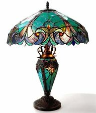 Tiffany Style Halston Double Lit Stained Glass Table Lamp Bronze Glass Metal
