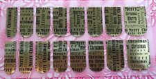 NAIL ART DECALS FOIL WRAPS 4 FINGERS/TOES GOLD MERRY CHRISTMAS WRITING #995