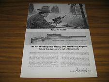 1963 Vintage Ad Weatherby .300 Magnum Mark V Rifles Hunter Stalks Deer