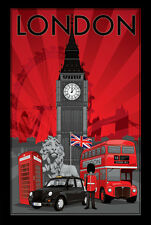 London Poster Red Flag Trolley Big Ben Soldier Phone booth red Lion New!