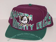 Vintage 90's NHL Anaheim Mighty DUCKS Snapback Hat APEX ONE NWOT New Old Stock