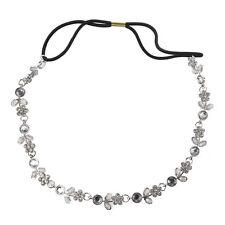 H1 Fashion Women Silver Rhinestone Crystal Flower Hair Band / Elastic Headband-S