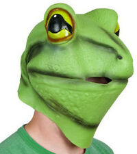 Deluxe Green Frog Mask Latex Amphibian Fancy dress Costume Animal Pond Pet