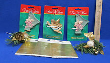 Trim A Home Ornaments 2 Harps 1 Angel 2 Gold Pine Cone & 3 Card Seals Lot Of 8