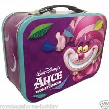 23706 Cheshire Cat Large Tin Tote Lunch Box Container Disney Alice in Wonderland