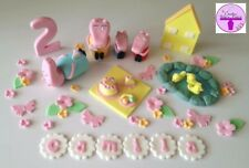 Peppa Pig Mummy Daddy George Edible Cake Topper Picnic Pond House Flowers Set