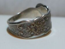 L. VERNON WOMENS STERLING SILVER FLORAL FLOWER SPOON FORK RING sz 5.75