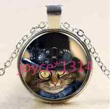 Vintage Steampunk cat Cabochon Tibetan silver Glass Chain Pendant Necklace @2779