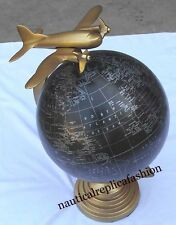 Nautical WORLD GLOBE Brass Antique Finish Aeroplane ANTIQUE BRASS World Globe