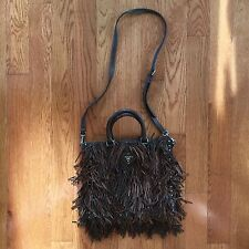 PRADA Dark Nappa Leather Fringe Brown Convertible Tote, Shoulder Bag- $2650