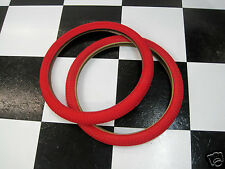 """2 RED 20 x 1.95"""" Snake Belly Old School BMX Freestyle Bike MX Bicycle TIRES"""