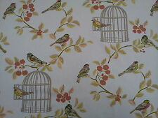 Vintage Song Bird, Bird Cage Terracotta Designer Curtain Upholstery Fabric