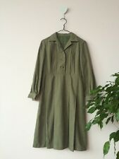 Vintage  green wool collar tailored winter dress Size Xs Vgc