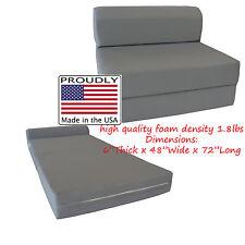 Full Size Gray Sleeper Chair Folding Foam Bed 6 x 48 x 72, Floor Sofa Mattress