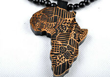 Africa Map Hip-Hop Theme Wood  Necklaces Pendant Beads Chain Necklaces Best Gift