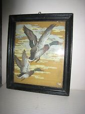 Vintage Home-Made 8 X 10 Oil Painting in Old Wood Frame; Mallard Ducks Flying