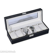 HOMCOM 6 Grid Watch Box Display Jewelry Storage Organizer Holder Case PU Leather