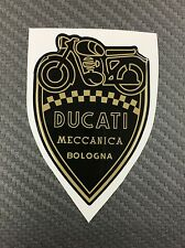 1 Stickers Scudetto DUCATI Meccanica Vintage Gold & Black 3D resinato 50 mm