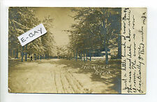 Alpena MI Mich Hitchcock Street in snow, RPPC real photo 1908