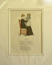 Antique Print Kate Greenaway To Baby c1900 Mounted ready to frame