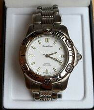 Mens ROVEN DINO Quartz Swiss Stainless Steel Watch-White Face, Silver Hands-Date