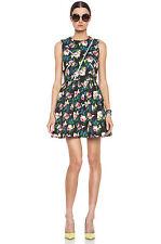 MSGM Size 42 New Italian Cotton Floral Print Dress With Zippers 4-6 US NWT