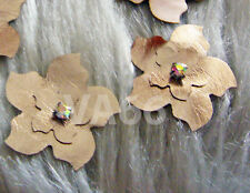 Handmade DIY Faux Leather Flowers 8 Metallic Bronze Iron On Hot Fix Applique