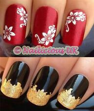 NAIL ART SET #527. 3D WHITE GEM FLOWERS STICKERS/DECALS/TRANSFERS & GOLD LEAF