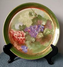 """Dresden China ~ 10½"""" SERVING PLATE ~ Green with Gold ~ Grapes ~ Signed by Daudin"""