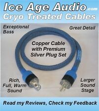 5ft-10 Gauge Cryo Treated Power Cord, Cable, Audiophile, High End, IEC, Silver