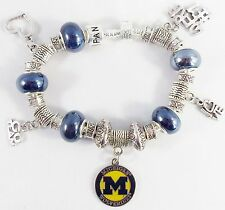 MICHIGAN WOLVERINES NCAA Licensed Charm Silver Bracelet Team BLUE GLASS BEADS